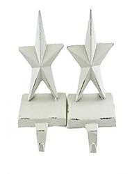 cheap -cast iron white stars holiday stocking holders - set of 2