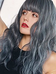 cheap -short wavy bob wig with bangs shoulder length blue wig with bangs synthetic cospaly wig for women natural looking heat resistant fiber hair