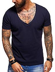 cheap -men's basic deep v-neck casual fashion t-shirt muscle tee casual premium top d-5000 (s,navy)