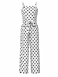cheap -women rompers summer long pants elegant strap jumpsuits 2019 polka dot plus size overalls,white,l