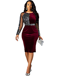 cheap -Women's Sheath Dress Knee Length Dress - Long Sleeve Solid Color Sequins Spring Sexy Slim 2020 Black Wine Navy Blue S M L XL XXL