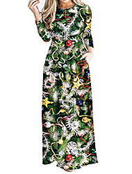 cheap -women's christmas dress xmas print party ugly christmas long maxi dress with pockets