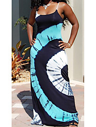 cheap -Women's Strap Dress Maxi long Dress - Sleeveless Print Patchwork Print Fall Plus Size Casual 2020 White Blushing Pink Light Blue S M L XL XXL 3XL 4XL 5XL