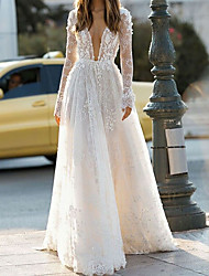 cheap -A-Line Wedding Dresses V Neck Floor Length Lace Long Sleeve Country with 2021