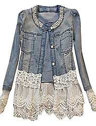 cheap -women's white tiered lace faux pearl o neck buttoned slim denim jacket, aspic xxs,manufacturer(s)