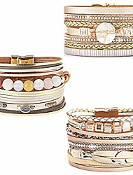 cheap -wovanoo 3pack leather cuff bracelet set multilayer wrap bracelet feather shell pearl magnetic clasp bracelet for women beaded