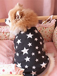 cheap -pet dog clothes fleece pullover star pattern shirt winter puppy short sleeve top for dogs black s