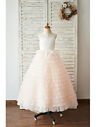cheap -Ball Gown Floor Length Wedding / Birthday Flower Girl Dresses - Lace / Tulle Sleeveless Jewel Neck with Lace / Buttons