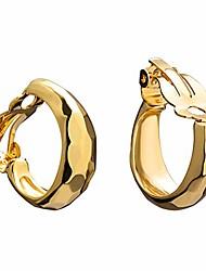 cheap -14k gold cut hoop clip on earrings for women, geometric chunky earrings girls gift, clip on