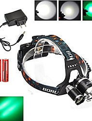 cheap -green light 3led xm-l t6 led 3 modes hunting headlamp headlight with 2pcs 18650 battery ac charger for hunting, camping, night fishing, running, reading