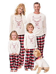 cheap -Family Look Family Matching Outfits Clothing Set Santa Claus Animal Long Sleeve Print White Christmas