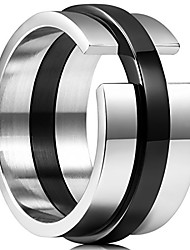 cheap -time 11mm black and white mens stainless steel wedding band ring high polished 8.5