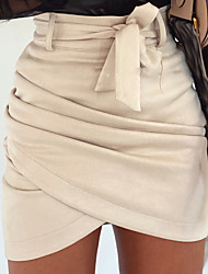 cheap -Women's Casual / Daily Skirts Solid Colored Ruched Patchwork Black Beige
