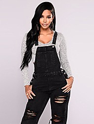 cheap -black distressed jeans, womens denim jumpsuit overalls adjustable strap casual ripped rompers jeans (black, l)