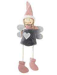 cheap -cute plush angel with heart christmas pendant decorative hanging figurine ornaments valentine's day/new year/christmas holiday gift decorations