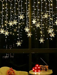 cheap -3.5m Christmas Decoration Lights 96pcs LED Snowflake Curtain String Lights Fairy Garland Lights for Window Curtain Home Holiday Party Outdoor Décor Waterproof