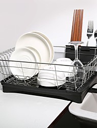 cheap -Stainless Steel Single Layer Dish Rack Kitchen Organizer Storage Drainer Drying Plate Shelf Sink Knife Fork Container Accessorie