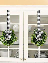 "cheap -set of 2 faux kitchen cabinet wreaths 11"" w x 21"" l each (black & white plaid)"