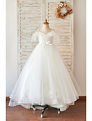 cheap -Princess / Ball Gown Floor Length Wedding / Birthday Flower Girl Dresses - Lace / Tulle Sleeveless V Neck with Bow(s) / Beading / Appliques