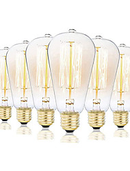cheap -6pcs 3pcs 1pc ST58 Incandescent Vintage Edison Light Bulb 40W E27  Retro Dimmable Antique Tungsten 220-240V for Home Hotel Bistro
