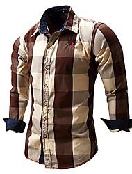 cheap -men's long sleeve slim fit 100% cotton plaid shirts coffee, eur large, usa m