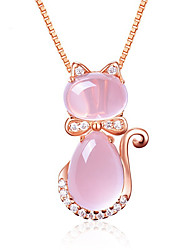 cheap -Pendant Necklace Women's Classic Moonstone Pink Rose Gold Plated Animal life Tree Classic Cute Rose Gold 45 cm Necklace Jewelry 1pc for Daily irregular