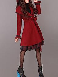cheap -Women's Solid Colored Fall & Winter Coat Long Daily Long Sleeve Wool Coat Tops Wine