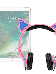 cheap -pink cat children's headphones (w/blue led ears) - compatible with apple ipad | ipad 2 | 3 | 4 | ipad mini | mini 2 | mini 3 | ipad air | air 2 | maxi & macbook pro