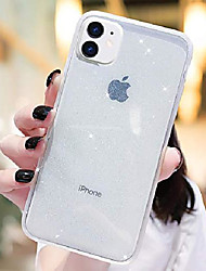 cheap -iphone 11 glitter case, clear bling sparkle case with [anti-shock cushion] cute slim soft tpu protective cover compatible for iphone 11 6.1 inch (transparent clear)