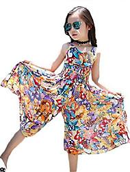 cheap -kids girls butterfly print straps dress summer floral sleeveless jumpsuit beach boho sundress size 6-7years/tag 140 (light blue)