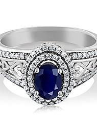 cheap -blue sapphire 925 sterling silver gemstone birthstone women's ring 1.41 cttw, center stone: 6x4mm (size 9)