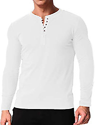 cheap -men's henley t shirt long sleeve v neck button slim fit tops blouse button casual tee 3off white 2xl