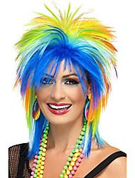 cheap -halloweencostumes womens 80s rainbow punk wig,multi-colour,one size