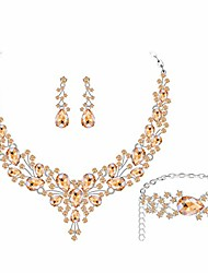 cheap -silver plated champagne aaaa cubic zirconia teardrop cluster bib necklace earrings bracelet jewelry set women wedding dress bridal prom