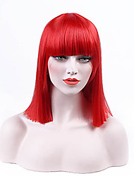 cheap -Synthetic Wig Hathaway Middle Part Wig Red Medium Length Straight Synthetic Hair 12 inch Women Synthetic Sexy Lady Hairstyle