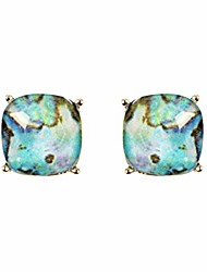 cheap -faceted jewel statement stud earrings - sparkly cushion cut, sequin confetti glitter square, opalescent faux mother of pearl oval round, animal leopard teardrop (cushion square - opalescent blue)