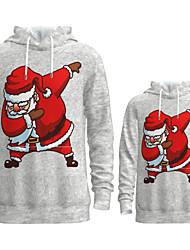 cheap -Family Look Active Santa Claus Graphic optical illusion Print Long Sleeve Regular Hoodie & Sweatshirt Gray