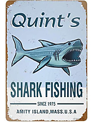 cheap -retro tin signs vintage style shark fishing metal sign iron painting for indoor & outdoor home bar coffee kitchen wall decor 8 x 12 inch