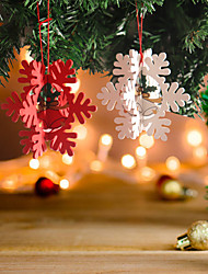 cheap -Christmas Toys Christmas Decorations Christmas Tree Ornaments Snowflake Merry Christmas Party Favor Wooden 4 pcs Adults Kids 11*11cm Christmas Party Favors Supplies