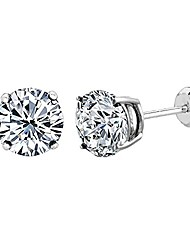cheap -14k white gold round cut white cubic zirconia stud earrings, 5mm