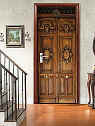 cheap -Retro Carved Wooden Door Self-adhesive Creative Door Stickers For Living Room DIY Decorative Home Waterproof Wall Stickers Wall Stickers for bedroom living room