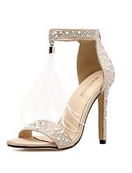 cheap -Women's Heels Stiletto Heel Peep Toe Casual Daily Walking Shoes Nubuck Rhinestone Color Block Almond