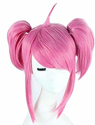 cheap -lux wig cosplay pink wig short straight with double ponytail show party hair