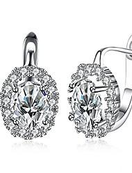 cheap -14k white gold diamond cz hoop stud earrings for women girls sensitive ears fashion dangle cubic zirconia dainty post hypoallergenic 2019 (clear)