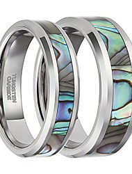 cheap -6mm tungsten abalone shell inlay rings for men women couple beveled edge silver wedding band size 10.5