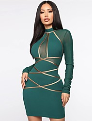 cheap -Sheath / Column Sexy bodycon Homecoming Party Wear Dress High Neck Long Sleeve Short / Mini Spandex with Sleek 2020