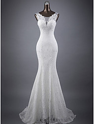cheap -Mermaid / Trumpet Wedding Dresses Jewel Neck Court Train Lace Sleeveless Romantic Sexy with Appliques 2020
