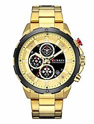 cheap -men stainless steel strap watches men's chronograph waterproof sport date quartz mechanical wrist watch on sale