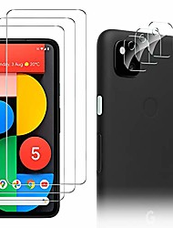 cheap -3-PCS TransparentScreen Protector+ 3-PCS Camera Lens Protector For Google Pixel 5 Pixel 4 XL Anti-Fingerprint Anti-Scratch Tempered Glass For Google Pixel 4a/ Pixel 4a 5G