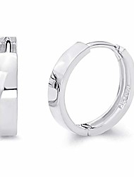 cheap -14k real white gold 3mm thickness hoop huggie earrings (14 x 14 mm)